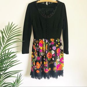 Late 1960s-70s mod floral, hippie, mini dress.